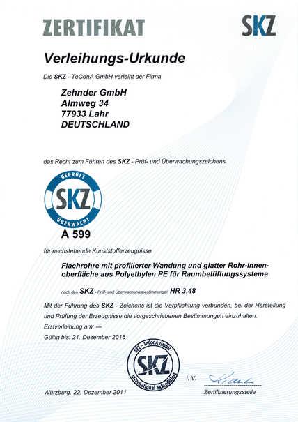 SKZ-Prüfzeichen | Zehnder Group Deutschland GmbH